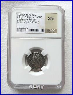 République Romaine L. Scipio Asiagenus, AR Denier serratus, 106 BC (NGC XF)