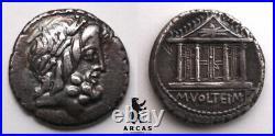 République Romaine Volteia Denier au temple 78 av. JC, Rome RCV#312 B#1