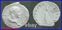 Romaine! Denier d'argent de TRAJAN revers à la colonne Trajane, COS VI en SUP