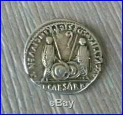 Roman silver coin. Augustus Denarius. Denier auguste