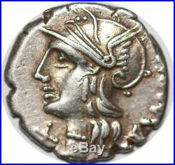 S6278 Rare denier denar M. Baebius Q. F. Tampilus. 137 BC. AR denarius Silver