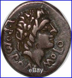 S6290 Rare denier Pomponius Molo AR denarius Rome 97 BC PomponMolo Silver