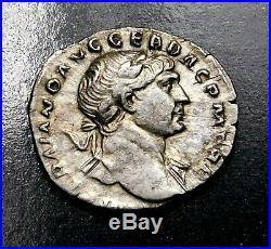 Trajan. Exceptionnelle Denier D'Argent, Frappé Ad 110. Ancien Romain Pièce Argent