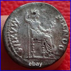 Tres beau Denier de Tibere, La Paix, monnaie romaine, roman coin Tiberius