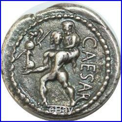 U6445 Rare Roman Empire Denier Julius Caesar -47 Venis Aeneas African mint